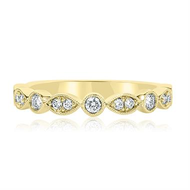 18ct Yellow Gold Vintage Style Diamond Half Eternity Ring 0.30ct thumbnail