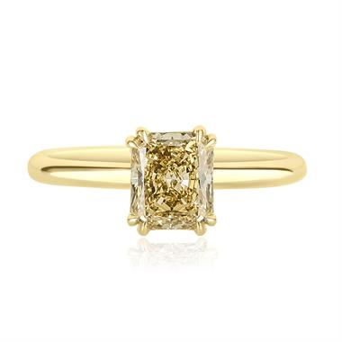 18ct Yellow Gold Radiant Cut Natural Champagne Diamond Solitaire Engagement Ring 1.51ct thumbnail