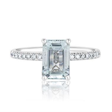 Platinum Aquamarine Solitaire Dress Ring