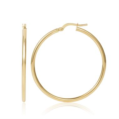 18ct Yellow Gold Hoop Earrings 34mm thumbnail