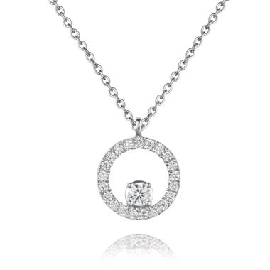 18WG trace chain necklace with a dia set circle and a large diamond in centre. 45cm long. 22 dias/0.20ct thumbnail