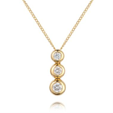 18ct Yellow Gold Graduated Diamond Drop Necklace thumbnail
