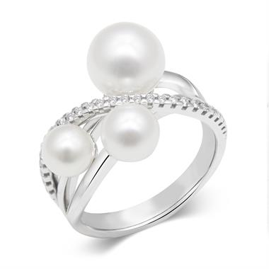 18ct White Gold Pearl and Diamond Crossover Ring thumbnail
