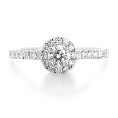 18ct White Gold 0.60ct Diamond Halo Ring thumbnail