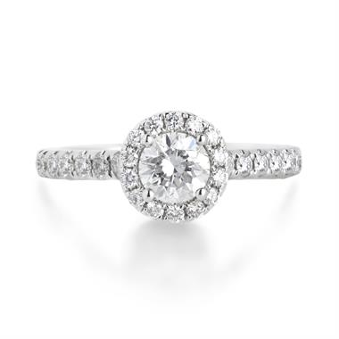 18ct White Gold 0.86ct Diamond Halo Ring thumbnail