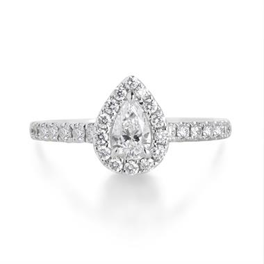 18ct White Gold Pear Shape 0.77ct Diamond Halo Ring thumbnail