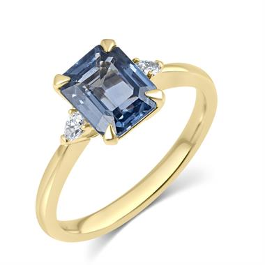 18ct Yellow Gold Light Blue Sapphire and Diamond Three Stone Engagement Ring thumbnail