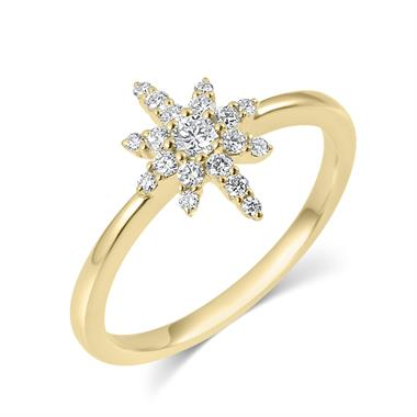 18ct Yellow Gold Star Design Diamond Dress Ring thumbnail