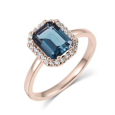 18ct Rose Gold Emerald Cut London Blue Topaz and Diamond Halo Dress Ring thumbnail
