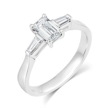 Platinum Emerald Cut And Baguette Cut Diamond Three Stone Engagement Ring 0.80ct thumbnail