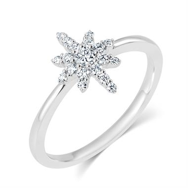 18ct White Gold Star Design Diamond Dress Ring thumbnail