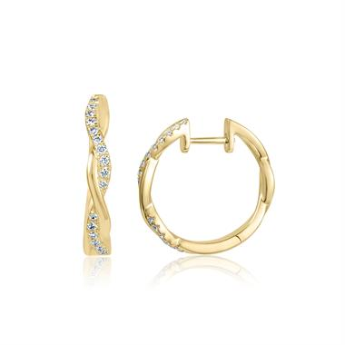 18ct Yellow Gold Plait Design Diamond Hoop Earrings thumbnail