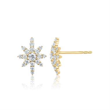 18ct Yellow Gold Star Design Diamond Stud Earrings thumbnail