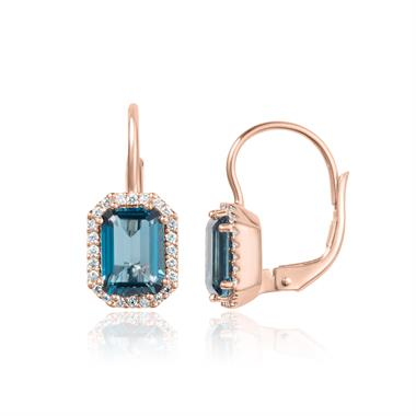 18ct Rose Gold Emerald Cut London Blue Topaz and Diamond Halo Drop Earrings thumbnail