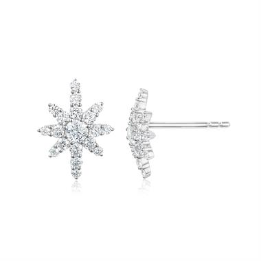 18ct White Gold Star Design Diamond Stud Earrings thumbnail