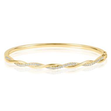 18ct Yellow Gold Plaited Design Diamond Bangle 0.41ct thumbnail