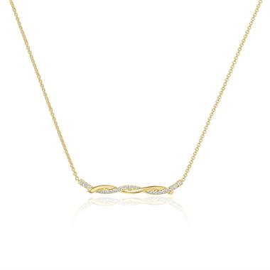 18ct Yellow Gold Plaited Design Diamond Necklace 0.18ct thumbnail