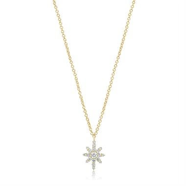 18ct Yellow Gold Star Design Diamond Necklace 0.23ct thumbnail