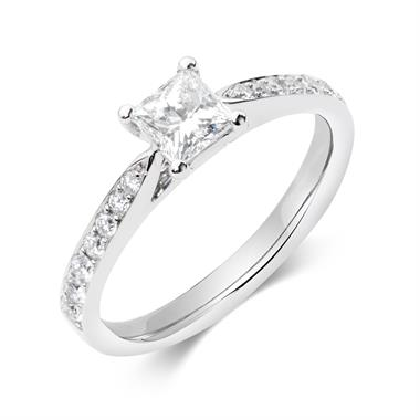 Platinum Princess Cut Diamond Solitaire Engagement Ring 0.75ct thumbnail