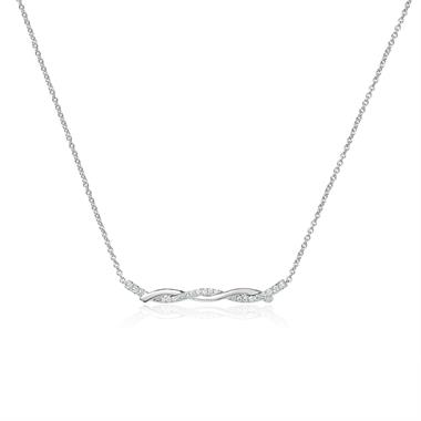 18ct White Gold Plaited Design Diamond Necklace 0.18ct thumbnail