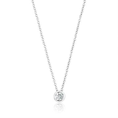 18ct White Gold Diamond Solitaire Necklace 0.20ct thumbnail