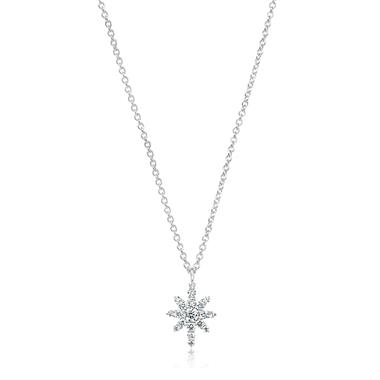 18ct White Gold Star Design Diamond Necklace 0.23ct thumbnail