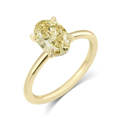 18ct Yellow Gold Oval Cut Champagne Diamond Solitaire Engagement Ring 1.58ct thumbnail