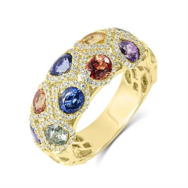 Samba 18ct Yellow Gold Dome Design Rainbow Sapphire And Diamond Dress Ring