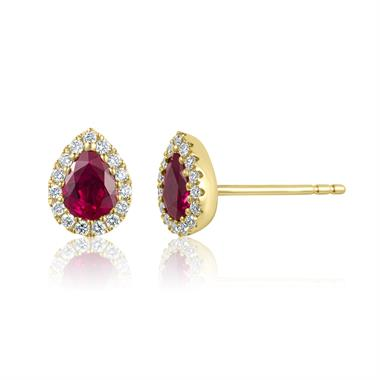 Camellia 18ct Yellow Gold Ruby and Diamond Teardrop Halo Earrings