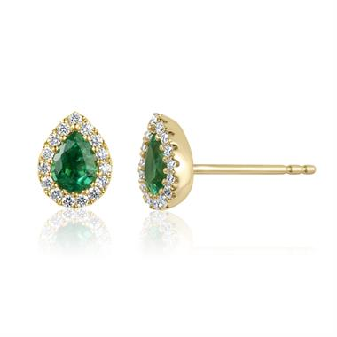 Camellia 18ct Yellow Gold Emerald and Diamond Teardrop Halo Earrings