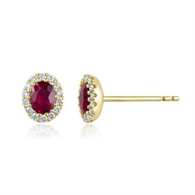 Camellia 18ct Yellow Gold Ruby and Diamond Oval Halo Earrings