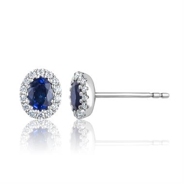 Camellia 18ct White Gold Sapphire and Diamond Oval Halo Earrings