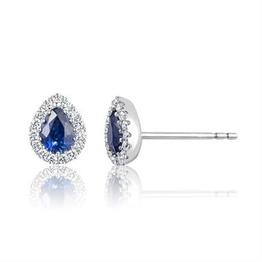Camellia 18ct White Gold Sapphire and Diamond Teardrop Halo Earrings