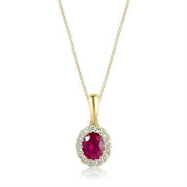 Camellia 18ct Yellow Gold Ruby and Diamond Oval Halo Pendant