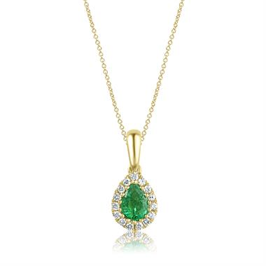 Camellia 18ct Yellow Gold Emerald and Diamond Teardrop Halo Pendant