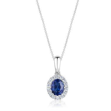 Camellia 18ct White Gold Sapphire and Diamond Oval Halo Pendant