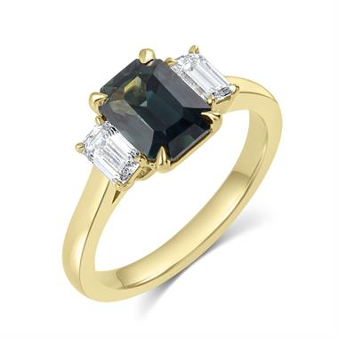 18ct Yellow Gold Dark Teal Emerald Cut Sapphire and Diamond Three Stone Engagement Ring