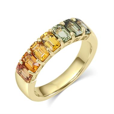 Samba 18ct Yellow Gold Emerald Cut Multicoloured Sapphire Dress Ring thumbnail