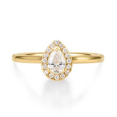 18ct Yellow Gold Pear Shape Halo Diamond Ring thumbnail