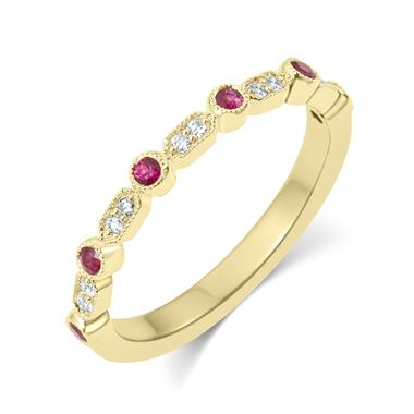 18ct Yellow Gold Vintage Style Ruby and Diamond Half Eternity Ring thumbnail