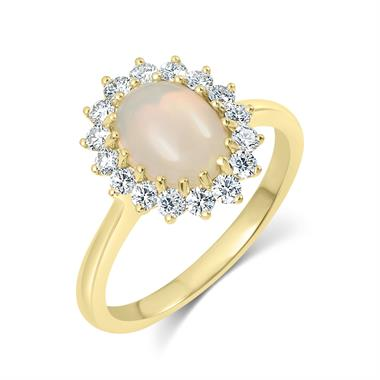 18ct Yellow Gold Opal and Diamond Cluster Dress Ring thumbnail
