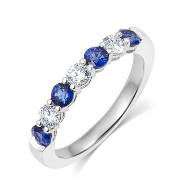 Platinum Sapphire and Diamond Half Eternity Ring thumbnail