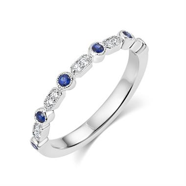18ct White Gold Vintage Style Sapphire and Diamond Half Eternity Ring thumbnail