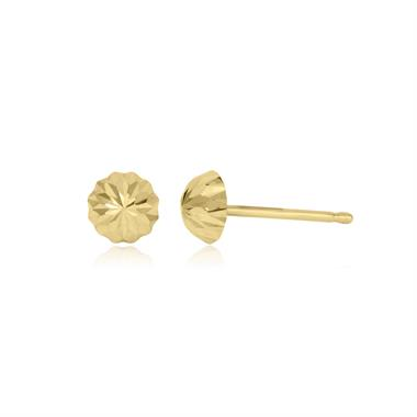 18ct Yellow Gold Diamond-cut Dome Stud Earrings thumbnail