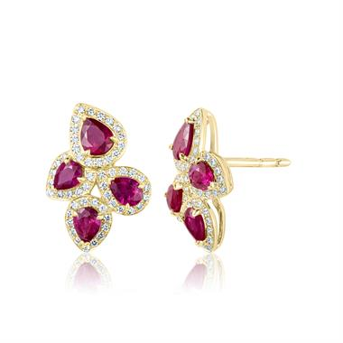 Oriana 18ct Yellow Gold Petal Cluster Ruby and Diamond Stud Earrings thumbnail