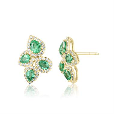 Oriana 18ct Yellow Gold Petal Cluster Emerald and Diamond Stud Earrings thumbnail