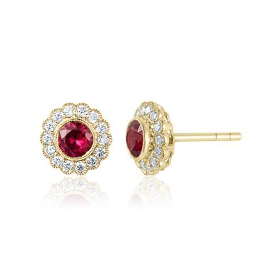 18ct Yellow Gold Ruby and Diamond Cluster Stud Earrings thumbnail
