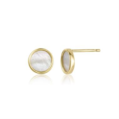 Nova 18ct Yellow Gold Mother of Pearl Stud Earrings thumbnail