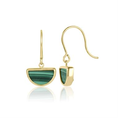 Nova 18ct Yellow Gold Half Moon Malachite Drop Earrings thumbnail