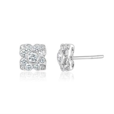 18ct White Gold Vintage Style Diamond Cluster Stud Earrings thumbnail